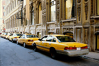 Montreal (QC) CANADA - 1997 File Photo - NY Yellow cabs during a movie shoot in Old-Montreal
