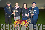 5600- 5602.ACCEPTING: Accepting the All Bitxch Trophy and Nominatator Trophy on Sunday at The Lixnaw Coursing l-r: Pat Joe Murphy presenting the all-age bitch trophy to Ciara Murphy, Julie O'Sullivan accepting the nominators trophy from Michael Neenan on Sunday.