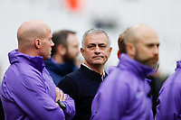 23rd November 2019; London Stadium, London, England; English Premier League Football, West Ham United versus Tottenham Hotspur; Tottenham Hotspur Manager Jose Mourinho looks over at the massed Photographers from the touchline before kick off - Strictly Editorial Use Only. No use with unauthorized audio, video, data, fixture lists, club/league logos or 'live' services. Online in-match use limited to 120 images, no video emulation. No use in betting, games or single club/league/player publications