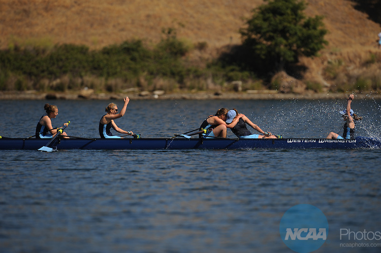 01 JUNE 2008: Western Washington University celebrates their Division II Eights Grand Final victory during the 2008 NCAA Division II Rowing  Championships held at Lake Natoma in Gold River, Calif. Hector Amezcua/NCAA Photos
