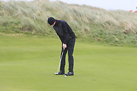 Luke O'Neill (Connemara) on the 12th green during Round 2 of the Ulster Boys Championship at Portrush Golf Club, Portrush, Co. Antrim on the Valley course on Wednesday 31st Oct 2018.<br /> Picture:  Thos Caffrey / www.golffile.ie<br /> <br /> All photo usage must carry mandatory copyright credit (&copy; Golffile | Thos Caffrey)