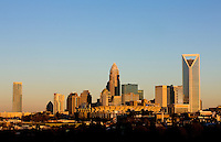 After many years of construction, the Charlotte skyline is complete (at least until the next high rise is announced). Photo taken December 2010. Multiple photos were taken on this date and from this angle as the sun was setting.