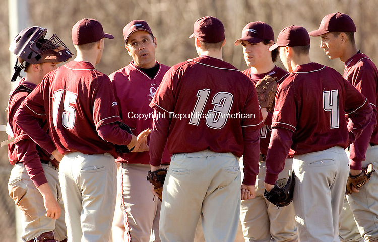 WOODBURY, CT--19 APRIL 2007--041907JS13-Naugatuck head coach Tom Deller talks with his team after Wolcott tied the game during their game Thursday at Wolcott High School.<br /> Jim Shannon / Republican-American
