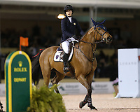 WELLINGTION, FL - FEBRUARY 09: SATURDAY NIGHT LIGHTS: Jessica Rae Springsteen (Bruce Springsteen's daughter) participates in Class 101 - FEI CSI5* $391,000 Fidelity Investments Grand Prix where the winner was Martin Fuchs (Swiss) second place was Kent Farrington (USA) and third was Conor Swail (IRE). The Winter Equestrian Festival (WEF) is the largest, longest running hunter/jumper equestrian event in the world held at the Palm Beach International Equestrian Center on February 09, 2019  in Wellington, Florida.<br /> People:  Jessica Rae Springsteen <br /> CAP/MPI122<br /> &copy;MPI122/Capital Pictures