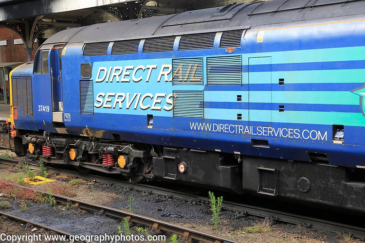 Direct Rail Services locomotive train engine, Norwich railway station, Norfolk, England, UK