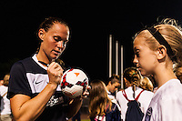 Sky Blue FC defender Christie Rampone (3) signs autographs after the match. Sky Blue FC and FC Kansas City played to a 2-2 tie during a National Women's Soccer League (NWSL) match at Yurcak Field in Piscataway, NJ, on June 26, 2013.