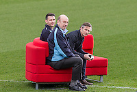 Matt Bloomfield, WW Trust Director Trevor Stroud & Gareth Ainsworth sit on the sofa During BBC Breakfast as they air their live broadcast on Tuesday morning, presented by Bill Turnbull for his penultimate appearance on the programme at Adams Park, High Wycombe, England on 23 February 2016. Photo by Andy Rowland.