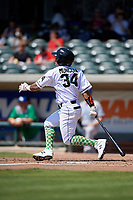Augusta GreenJackets Ismael Munguia (34) at bat during a South Atlantic League game against the Lexington Legends on April 30, 2019 at SRP Park in Augusta, Georgia.  Augusta defeated Lexington 5-1.  (Mike Janes/Four Seam Images)