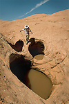 Deep pockets in the Navajo Sandstone hold water, which could make your day, depending on how prepared one is!