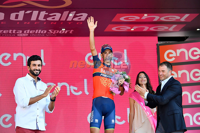Vincenzo Nibali (ITA) Bahrain-Merida finishes 3rd overall in the general classification at the end of Stage 21, the final stage of the 100th edition of the Giro d'Italia 2017, an individual time trial running 29.3km from Monza Autodrome to Milan Duomo, Italy. 28th May 2017.<br /> Picture: LaPresse/Fabio Ferrari | Cyclefile<br /> <br /> <br /> All photos usage must carry mandatory copyright credit (&copy; Cyclefile | LaPresse/Fabio Ferrari)