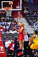 Washington, DC - June 15, 2018: Washington Mystics forward Tianna Hawkins (21) goes up for a basket during game between the Washington Mystics and Los Angeles Sparks at the Capital One Arena in Washington, DC. (Photo by Phil Peters/Media Images International)