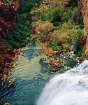 USA, Arizona,  Havasupai Indian reservation. Mooney Falls in the Grand Canyon.