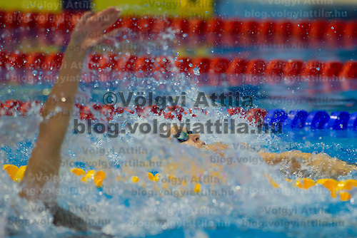 Jenny Mensing of Germany competes in the Women's 100m Backstroke of the 31th European Swimming Championships in Debrecen, Hungary on May 23, 2012. ATTILA VOLGYI