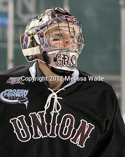 Troy Grosenick (Union - 1) - The Union College Dutchmen defeated the Harvard University Crimson 2-0 on Friday, January 13, 2012, at Fenway Park in Boston, Massachusetts.