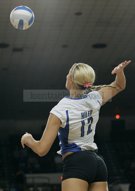 Outside hitter Blaire Hiler spikes the ball during the UK volleyball game against Florida at Memorial Coliseum on Sunday, Nov. 22, 2009. No. 10 UK lost to No. 13 Florida (3-1). Photo by Adam Wolffbrandt | Staff