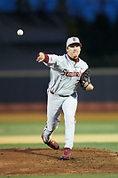 Florida State Seminoles starting pitcher Cole Sands (26) delivers a pitch to the plate against the Wake Forest Demon Deacons at David F. Couch Ballpark on March 9, 2018 in  Winston-Salem, North Carolina.  The Seminoles defeated the Demon Deacons 7-3.  (Brian Westerholt/Four Seam Images)