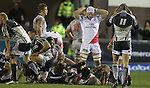 17 February 2012; Dejected Ulster players at the final whistle after losing to Cardiff Blues,  Celtic League, Cardiff Blues v Ulster, Cardiff Arms Park, Cardiff, Wales..Picture credit: Steve Pope / SPORTINGWALES