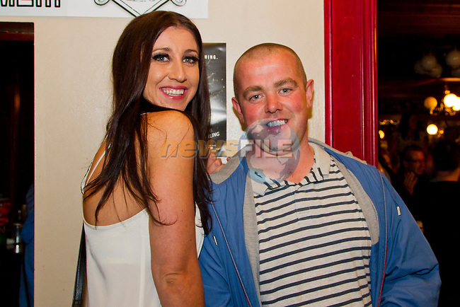 Rachel Levins and Alan O Connor in The Well for the charity headshave event.<br /> Picture: Shane Maguire / www.newsfile.ie