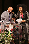 Ruben Santiago-Hudson and Sarah Jones on stage at the The Lilly Awards  at Playwrights Horizons on May 22, 2017 in New York City.