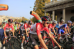 Tiesj Benoot (BEL) Lotto-Soudal at the start of the 112th edition of Il Lombardia 2018, the final monument of the season running 241km from Bergamo to Como, Lombardy, Italy. 13th October 2018.<br /> Picture: Eoin Clarke | Cyclefile<br /> <br /> <br /> All photos usage must carry mandatory copyright credit (© Cyclefile | Eoin Clarke)