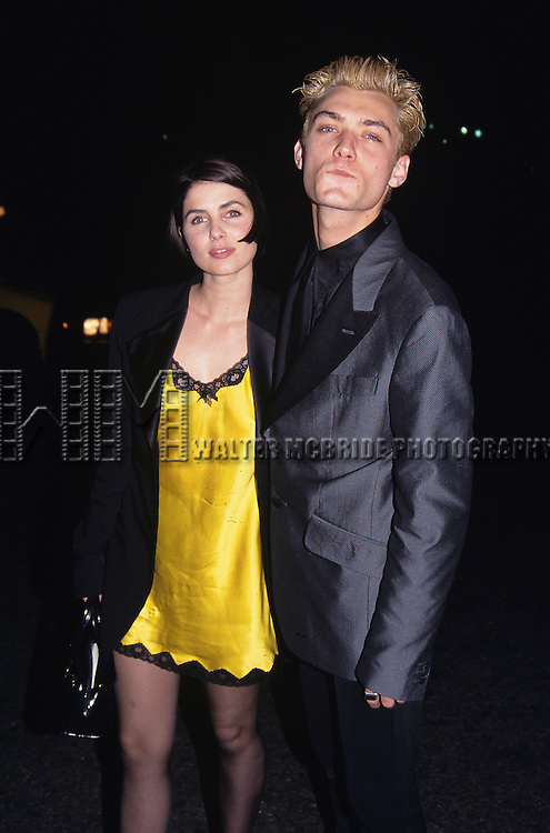 Jude Law with his wife Sadie Frost attend His Broadway Opening Night debut in 'Indescretions' at the Barrymore Theatre in New York City on 4/27/95.
