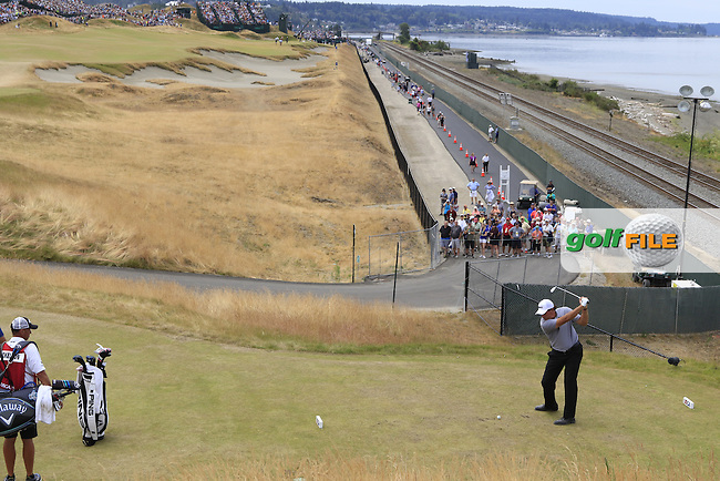 Phil MICKELSON (USA) tees off the 16th tee during Thursday's Round 1 of the 2015 U.S. Open 115th National Championship held at Chambers Bay, Seattle, Washington, USA. 6/18/2015.<br /> Picture: Golffile | Eoin Clarke<br /> <br /> <br /> <br /> <br /> All photo usage must carry mandatory copyright credit (&copy; Golffile | Eoin Clarke)