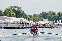 """Henley on Thames, United Kingdom, 3rd July 2018, Saturday,  """"Henley Royal Regatta"""",  Heat of """"The Double Sculls Challenge Cup.ROU M2X,  move away from the start, Henley Reach, River Thames, Thames Valley, England, UK."""