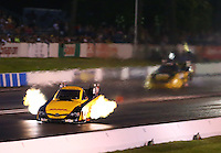 May 30, 2014; Englishtown, NJ, USA; NHRA funny car driver Del Worsham during qualifying for the Summernationals at Raceway Park. Mandatory Credit: Mark J. Rebilas-