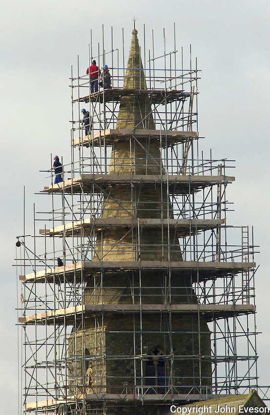 Repairing the steeple on the Parish Church of All Saints, Mappleton, Hornsey, East Yorkshire.