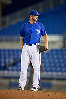 Dunedin Blue Jays relief pitcher Jackson McClelland looks in for the sign during a game against the Jupiter Hammerheads on August 14, 2018 at Dunedin Stadium in Dunedin, Florida.  Jupiter defeated Dunedin 5-4 in 10 innings.  (Mike Janes/Four Seam Images)