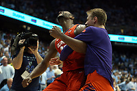 CHAPEL HILL, NC - JANUARY 11: Aamir Simms #25 of Clemson University reacts after the final horn during a game between Clemson and North Carolina at Dean E. Smith Center on January 11, 2020 in Chapel Hill, North Carolina.