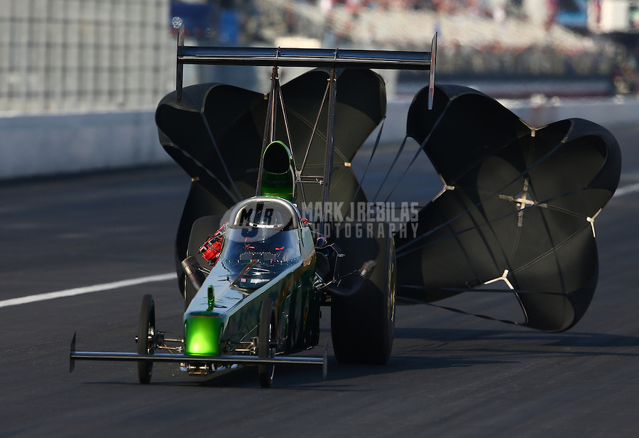Feb 8, 2014; Pomona, CA, USA; NHRA top alcohol dragster driver Casey Grisel during qualifying for the Winternationals at Auto Club Raceway at Pomona. Mandatory Credit: Mark J. Rebilas-