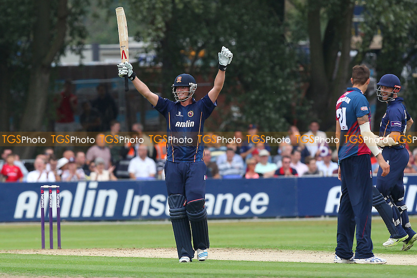 Tom Westley of Essex celebrates his century from 55 balls - Essex Eagles vs Kent Spitfires - NatWest T20 Blast Cricket at Castle Park, Colchester, Essex - 12/07/14 - MANDATORY CREDIT: Gavin Ellis/TGSPHOTO - Self billing applies where appropriate - contact@tgsphoto.co.uk - NO UNPAID USE