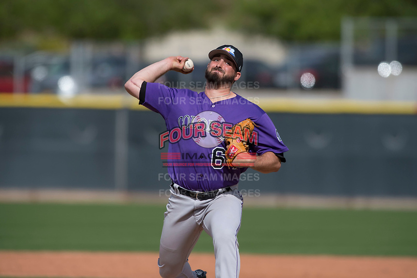 Colorado Rockies relief pitcher Reid Humphreys (64) during a Minor League Spring Training game against the Los Angeles Angels at Tempe Diablo Stadium Complex on March 18, 2018 in Tempe, Arizona. (Zachary Lucy/Four Seam Images)