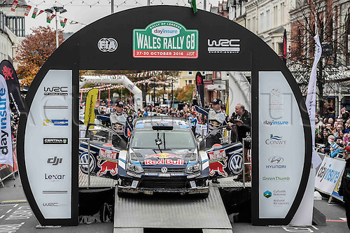 30.10.2016. Llandudno, Wales. WRC Dayinsure Wales Rally GB final day.  SEBASTIEN OGIER winner on the PODIUM