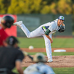 24 August 2016: Vermont Lake Monster pitcher Logan Shore on the mound against the Lowell Spinners at Centennial Field in Burlington, Vermont. The Lake Monsters defeated the Spinners 5-3 in NY Penn League action. Mandatory Credit: Ed Wolfstein Photo *** RAW (NEF) Image File Available ***