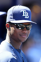 Tampa Bay Rays shortstop Tim Beckham #29 in the dugout during a spring training game against the Baltimore Orioles at the Charlotte County Sports Park on March 5, 2012 in Port Charlotte, Florida.  (Mike Janes/Four Seam Images)