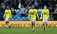 The Blackburn Rovers players struggle to hide their dejection after going further behind<br /> <br /> Photographer David Shipman/CameraSport<br /> <br /> The EFL Sky Bet Championship - Sheffield Wednesday v Blackburn Rovers - Saturday 16th March 2019 - Hillsborough - Sheffield<br /> <br /> World Copyright &copy; 2019 CameraSport. All rights reserved. 43 Linden Ave. Countesthorpe. Leicester. England. LE8 5PG - Tel: +44 (0) 116 277 4147 - admin@camerasport.com - www.camerasport.com