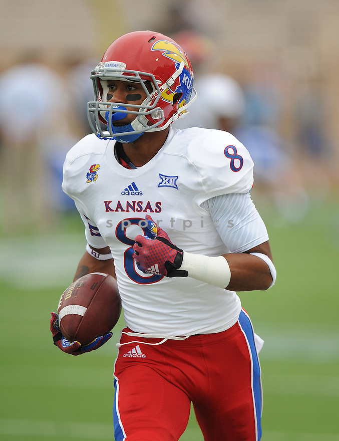 Kansas Jayhawks Nick Harwell (8) during a game against the Duke Blue Devils on September 13, 2014 at Wallace Wade Stadium in Durham, NC. Duke beat Kansas 41-3.