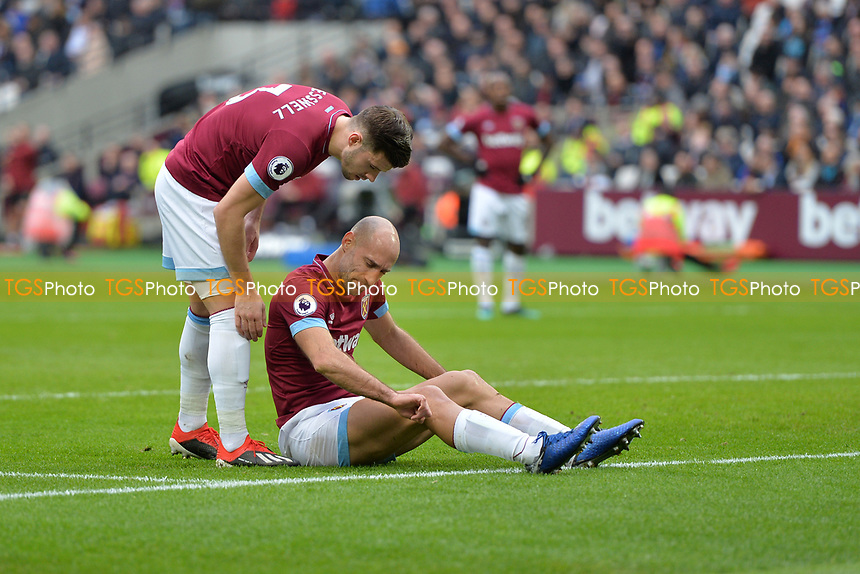 Pablo Zabaleta of West Ham United and Aaron Cresswell of West Ham United during West Ham United vs Arsenal, Premier League Football at The London Stadium on 12th January 2019