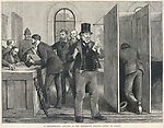 A parliamentary election: voting by secret ballot was only introduced in Britain in 1872 with Gladstone's Ballot Act removing the possible intimidation of open voting     Date: 1873     Source: W Bromley in the Graphic