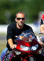 Sept. 4, 2010; Clermont, IN, USA; NHRA pro stock motorcycle rider Matt Smith during qualifying for the U.S. Nationals at O'Reilly Raceway Park at Indianapolis. Mandatory Credit: Mark J. Rebilas-
