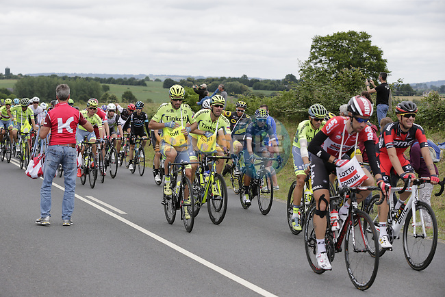 The peloton passes through the feed zone at La Hargriniere during Stage 3 of the 2016 Tour de France, running 223.5km from Granville to Angers, France . 4th July 2016.<br /> Picture: Eoin Clarke | Newsfile<br /> <br /> <br /> All photos usage must carry mandatory copyright credit (&copy; Newsfile | Eoin Clarke)