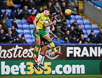Bolton Wanderers' Josh Magennis competing with Norwich City's Ben Godfrey  <br /> <br /> Photographer Andrew Kearns/CameraSport<br /> <br /> The EFL Sky Bet Championship - Bolton Wanderers v Norwich City - Saturday 16th February 2019 - University of Bolton Stadium - Bolton<br /> <br /> World Copyright © 2019 CameraSport. All rights reserved. 43 Linden Ave. Countesthorpe. Leicester. England. LE8 5PG - Tel: +44 (0) 116 277 4147 - admin@camerasport.com - www.camerasport.com