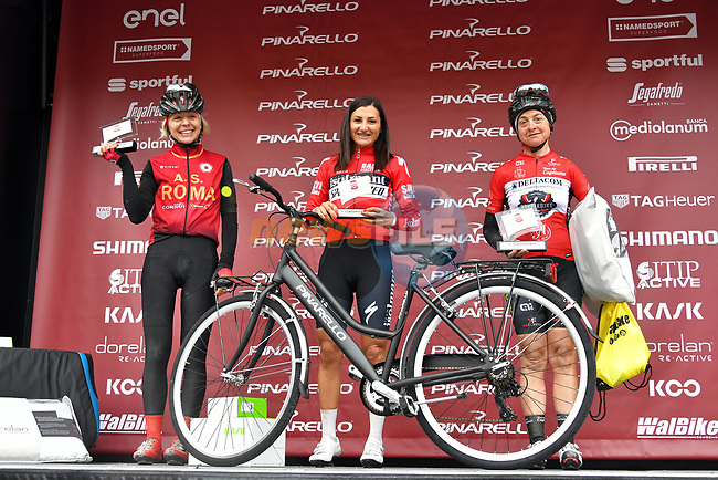 The ladies winners of the Gran Fondo Strade Bianche 2019 crossed the start line in the fantastic location of the Fortezza Medicea in Siena running 133km from Siena to Siena, held over the white gravel roads of Tuscany, Italy. 10th March 2019.<br /> Picture: LaPresse/Gian Matteo D'Alberto | Cyclefile<br /> <br /> <br /> All photos usage must carry mandatory copyright credit (© Cyclefile | LaPresse/Gian Matteo D'Alberto)