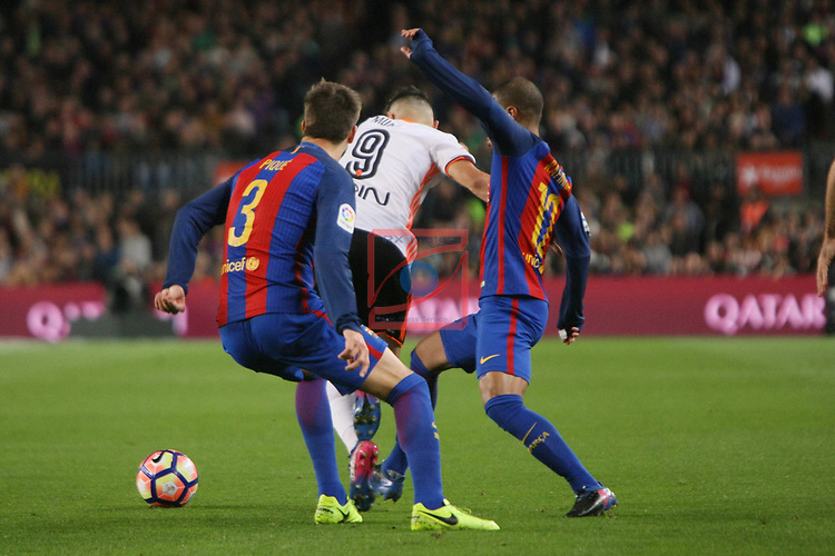 League Santander 2016/2017. Game: 28.<br /> FC Barcelona vs Valencia CF: 4-2.<br /> Gerard Pique, Munir &amp; Rafinha.