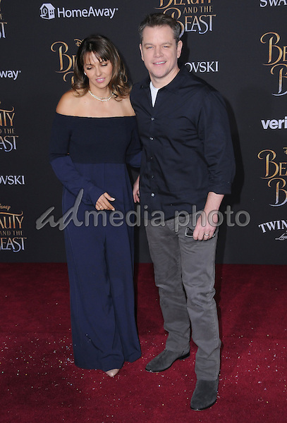 "02 March 2017 - Hollywood, California - Luciana Barroso, Matt Damon. Los Angeles premiere of Disney's ""Beauty and the Beast' held at El Capitan Theatre. Photo Credit: Birdie Thompson/AdMedia"