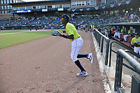 Shortstop Ronny Mauricio (2) of the Columbia Fireflies is introduced before a game against the Charleston RiverDogs on Saturday, April 6, 2019, at Segra Park in Columbia, South Carolina. Columbia won, 3-2. (Tom Priddy/Four Seam Images)