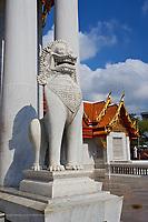 Marble Lion at entrance to the Ordination Hall (Ubosot Hall) at Wat Benchamabophit, Bangkok, Thailand