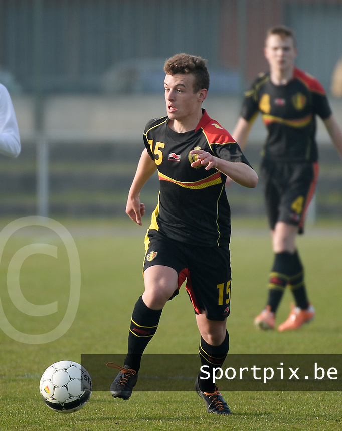 20140314 - HEIST , BELGIUM : Belgian Jules Combel pictured during a friendly soccer match between the Under16 soccerteams of Belgium and Serbia , Friday 14 March 2014 in Heist . PHOTO DAVID CATRY